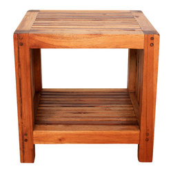 Kammika - End Table w Shelf Farmed Teak Slat 18x16x18 inch H w Eco Frndly Livos Walnut Oil - Our Farmed Teak Sustainable Wood Slat End Table with Shelf 18 inch x 16 inch x 18 inch Height with Eco Friendly, Natural Food-safe Livos Walnut Oil Finish has an appealing rough-hewn look that lends a sense of comfort to any setting. Created from Thai farmed Teak wood, its slatted sides and top add a rustic touch to a very sophisticated piece of furniture. A very useable shelf makes this a multifunctional piece of art. This versatile functional art piece can be used indoors or outdoors; it can be used as a bench with shoe storage in the entry way or as a service table outdoors. You can use these hand crafted wood doweled pieces to set up an indoor or outdoor shower or bathing area. Hand rubbed in natural non toxic Livos Walnut oil that is polished to a matte highly water resistant and food-safe finish. Color ranges from medium to dark Walnut brown tones that will darken as the wood ages. These natural oils are translucent so the wood grain detail is highlighted. There is no oily feel and cannot bleed into carpets. All of these products are hand crafted from a sustainable Thai Farmed Teak wood species from the Thai Royal Forestry Department. We make minimal use of electric hand sanders in the finishing process. All products are dried in solar kilns and/or propane kilns. No chemicals are used in the process, ever. After each piece is carved, kiln dried, sanded, and hand rubbed with eco friendly Livos Walnut oil, they are packaged with cartons from recycled cardboard with no plastic or other fillers. As this is a natural product, the color and grain of your item will be unique, and may include small checks or cracks that occur when the wood is dried. Sizes are approximate. Products could have visible marks from tools used, patches from small repairs, knot holes, natural inclusions, and/or worm holes. There may be various separations or cracks on your piece when it arrives. There may be some slight variation in size, color, texture, and finish color.Only listed product included.
