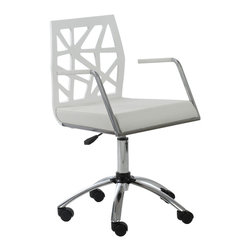 Eurø Style - Sophia Office Chair in White / Chrome - Beautifully designed by Jan Sabro, this Sophia Office Chair by will be a gorgeous addition to your office setting.