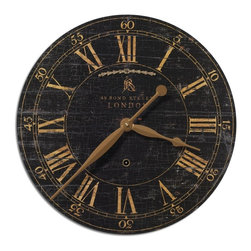 "Old World London Black Crackle  Gallery Wall Clock 18"" - *Laminated clock face with a weathered, crackled look."