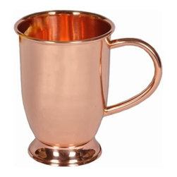 Custom Copper Mugs, LLC - Barrel Shape Mug with base - 16 oz - Our Moscow Mule Mugs are constructed of 100% pure copper. We apply a food-safe lacquer that resists tarnishing for lasting beauty and luster. The mug of choice when serving the infamous Moscow Mule--a cocktail made from a blend of vodka, ginger beer, and lime juice. The copper mug enhances the flavor and keeps the drink colder, longer.