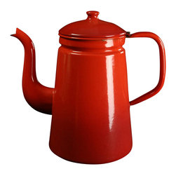 EuroLux Home - Large Consigned Antique French Enamelware Kettle or Teakettle, Red - Product Details