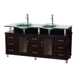 "Modern Bathroom - Charlton 60"" Double Bathroom Vanity with Glass Countertop and Mirror - Espresso - Meet the Charlton 60"" Double Sink Vanity, another Modern Bathroom worldwide exclusive, now offered for nationwide shipping. This contemporary vanity has a beautiful Espresso finish, and is the essence of our unique modern bathroom design ethos. Its 3/4"" heat-tempered safety glass basin and counter give the Charlton Vanity a clean and contemporary style that makes it a ""must have"" for your bathroom remodel or dream-bath build. The Charlton vanity is also available in additional sizes. This Item Is Available In Clear or Frosted Glass - please specify when ordering.  Additional Details Single-hole faucet mounts Includes drain assemblies Faucets and mirror not included Optional side and wall cabinets How to handle your counter Spec Sheet for Rotating Wall Cabinet with mirror (B802) Spec Sheet for Claire Rotating Wall Cabinet with mirror (WC-B802) Spec Sheet for Sarah Storage Cabinet (WC-B803) Spec Sheet for Accara Bathroom Wall Cabinet (WC-B805) Spec Sheet for Maria Bathroom Wall Cabinet (WC-B807) Installation Instructions *Because these items are hand finished, mirror and vanity color shades may vary slightly."