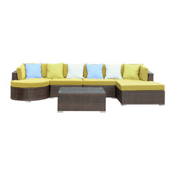Modway - Modway EEI-987 Montana 5 Piece Sectional Set in Brown Peridot - Nestled among the expanse of the Rocky Mountains lies a land of big skies and even bigger dreams. With its assorted pieces to fit every seating position, the Montana set is symbolic of the treasured nature of its namesake. While Montana is termed �Big Sky Country� and the �Land of the Shining Mountains,� the set itself is the stuff dreams are made of. Montana is comprised of UV resistant rattan, a powder-coated aluminum frame and all-weather cushions. The set is perfect for cafes, restaurants, patios, pool areas, hotels, resorts and other outdoor spaces.