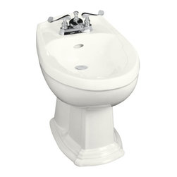 """KOHLER - KOHLER K-4896-0 Portrait Bidet, Plumbed for Horizontal Spray Bidet Faucet in Whi - KOHLER K-4896-0 Portrait Bidet, Plumbed for Horizontal Spray Bidet Faucet in WhiteThe charming, traditional styling of this Portrait bidet integrates with the Portrait Suite to carry the understated elegance of French Provincial design throughout the room. The horizontal spray flows over the rim for localized cleansing of the body and aids in relief of certain health conditions. This bidet is available in a palette of KOHLER colors to complement any decor.KOHLER K-4896-0 Portrait Bidet, Plumbed for Horizontal Spray Bidet Faucet in White, Features:• 24-3/4""""L x 15-1/4""""W x 15""""H"""