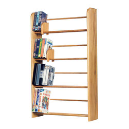 CD Racks - Solid Oak 4 Row Dowel DVD/VHS Rack - Handcrafted by the Wood Shed from durable solid ...