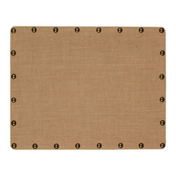 "Linon Home Decor - Linon Home Decor Burlap Nailhead Corkboard - Small X-1-82X22LRUBN-XMA - Ideal for placing in an office, kitchen or entry, the Burlap Corkboard is perfect for creating a note and message taking space in your home. The burlap covered cork and mdf is accented with oversized antique bronze nailheads. Easily hands vertically or horizontally. Measures 22""x28"""