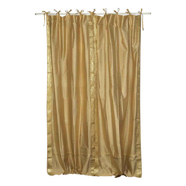 Indian Selections - Pair of Golden Tie Top Sheer Sari Curtains, 43 X 108 In. - Size of each curtain: 43 Inches wide X 108 Inches drop