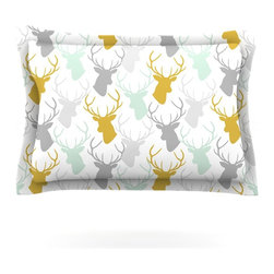 """Kess InHouse - Pellerina Design """"Scattered Deer White"""" Gold Green Pillow Sham (Cotton, 30"""" x 20 - Pairing your already chic duvet cover with playful pillow shams is the perfect way to tie your bedroom together. There are endless possibilities to feed your artistic palette with these imaginative pillow shams. It will looks so elegant you won't want ruin the masterpiece you have created when you go to bed. Not only are these pillow shams nice to look at they are also made from a high quality cotton blend. They are so soft that they will elevate your sleep up to level that is beyond Cloud 9. We always print our goods with the highest quality printing process in order to maintain the integrity of the art that you are adeptly displaying. This means that you won't have to worry about your art fading or your sham loosing it's freshness."""