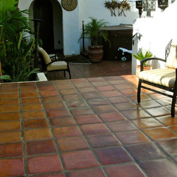 Project Photos - Patio project with beautiful saltillo 12x12 pavers.