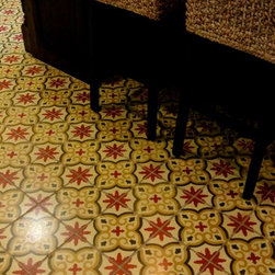 Project Photos - Kitchen project with encaustic decorative painted floors. Encaustic floor comes in decorative designs or solid colors.