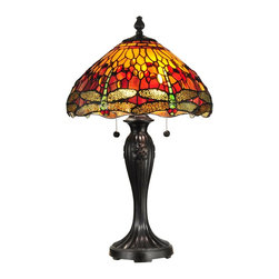 "Dale Tiffany - Dale Tiffany TT12269 Reves Dragonfly Traditional Tiffany Table Lamp - Your room will be awash with brilliant color when you chose our Reves table lamp. A background of vivid red, orange and yellow art glass is accented with art glass jewels in complementary colors for extra sparkle and texture. A row of iridescent green and yellow dragonflies, complete with red art glass jewel ""eyes,"" run along the bottom edge of the shade. The metal base is finely cast with a fleur de lis pattern and is finished in a rustic fieldstone. Vibrantly stunning displayed on its own, try pairing the table lamp with either of its corresponding ceiling fixtures for a spectacular effect."