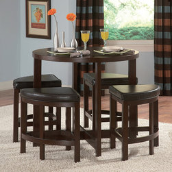 Tribecca Home - Tribecca Home Oliver 5-piece Contemporary Counter Din - Let this pub set be the centerpiece of your dining area. Featuring sharp lines and tight wedge seating,this compact five-piece counter-height dining set is the perfect seating solution for small living spaces where style and function is needed.