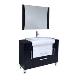 "Fresca - Fresca Vita Vanity w/ Wenge Wood Finish - Dimensions of vanity:  43.25""W x 19""D x 33.5""H. Dimensions of mirror:  35.38""W x 27.5""H. Materials:  Wenge wood, ceramic sink with overflow. Single hole faucet mount. P-trap, faucet, pop-up drain and installation hardware included.  Post Modern detailed European design meets Tribeca loft, clean and simple lines.  Almost 1950's industrial in look, but also fully functional 21st century design.  This mostly dark Wenge wood vanity utilizes cleverly constructed and executed storage spaces that contrast wonderfully with a white sink and white middle drawer.  Mirror with matching dark Wenge wood accents."