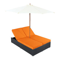 "LexMod - Arrival Outdoor Patio Chaise in Espresso Orange - Arrival Outdoor Patio Chaise in Espresso Orange - Life is full of first glimpses with the dual lounge Arrival set. Center your thoughts on uplifted efforts as you embark on pursuits both peaceful and grand. With recline adjustable chaise lounges, and an easy fold umbrella that provides shade from the sun, Arrival is a piece of stellar resolve. Arrival is comprised of UV resistant rattan, a powder-coated aluminum frame and all-weather cushions. The set is perfect for cafes, restaurants, patios, pool areas, hotels, resorts and other outdoor spaces. Set Includes: One - Arrival Outdoor Dual Chaise Dual Modern Chaise Lounges, Synthetic Rattan Weave, Machine Washable Cushion Covers, Powder Coated Aluminum Frame, Water & UV Resistant, Ships Pre-Assembled Overall Product Dimensions: 105.5""L x 105.5""W x 13.5""H Daybed Dimensions: 82""L x 54.5""W x 13.5""H Umbrella Diameter: 105.5""L x 105.5""W Seat Height: 13.5""H - Mid Century Modern Furniture."