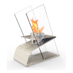 Decorpro - Kaskade Bio Ethanol Indoor/Outdoor Fireburner - Kaskade is an architecturally inspired Fireburner / Firepot.  It has unique angles and glass panels that create that perfect statement piece. Can be used indoors and out. Use Organica Bio Safety Fuel or the Sunjel one time use firepot fuel canister to create the wonderful smoke free flame. Fuel sold separately. This product includes a snuffer. This Fireburner / Firepot is made of steel and is painted in a durable epoxy powdered paint. Durable for any climate.