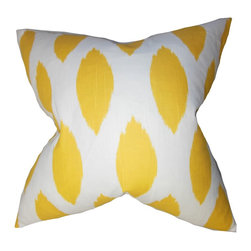 "The Pillow Collection - Juliaca Ikat Pillow Yellow - Incorporate a bright and modern look to your home with this fun decor pillow. This home accessory pulsates a positive energy with its bold color and an interesting ikat-inspired pattern. The yellow hue complements the white background giving this 18"" pillow a contemporary vibe. Accent your sofa or bed with this artsy 100% cotton-made throw pillow. Hidden zipper closure for easy cover removal.  Knife edge finish on all four sides.  Reversible pillow with the same fabric on the back side.  Spot cleaning suggested."