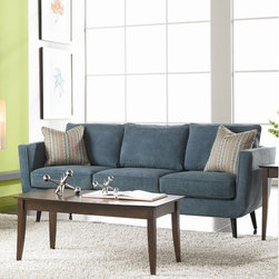Rowe Furniture - Duncan Sofa - The Duncan features mid-century modern styling but is designed for today's consumer. Featuring narrow track arms with a slight flare that curve to meet the base, tapered round wood legs, and plush down-blend toss pillows, the Duncan is stylish and comfortable. Features: -Wooden leg.-Sinuous spring suspension system.-330 CC foam cushion.-Loose back.-Made in the USA.-Width Between Arms: 75''.-Includes two 18'' welted down throw pillows.-Dunchan Collection.-Collection: Duncan.-Distressed: No.-Country of Manufacture: United States.Dimensions: -Seat depth: 22''.-Seat height: 20''.-Arm height: 29''.-Overall Product Weight: 111 lbs.