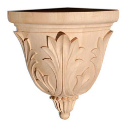 """Inviting Home - Dixon Small Corner Bracket - Cherry - wood corner bracket in cherry 8-1/4""""H x 5-1/2""""W x 5-1/4""""D Corbels and wood brackets are hand carved by skilled craftsman in deep relief. They are made from premium selected North American hardwoods such as alder beech cherry hard maple red oak and white oak. Corbels and wood brackets are also available in multiple sizes to fit your needs. All are triple sanded and ready to accept stain or paint and come with metal inserts installed on the back for easy installation. Corbels and wood brackets are perfect for additional support to countertops shelves and fireplace mantels as well as trim work and furniture applications."""