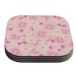 "Kess InHouse - Deepti Munshaw ""Blush Bouquet"" Pink Roses Coasters (Set of 4) - Now you can drink in style with this KESS InHouse coaster set. This set of 4 coasters are made from a durable compressed wood material to endure daily use with a printed gloss seal that protects the artwork so you don't have to worry about your drink sweating and ruining the art. Give your guests something to ooo and ahhh over every time they pick up their drink. Perfect for gifts, weddings, showers, birthdays and just around the house, these KESS InHouse coasters will be the talk of any and all cocktail parties you throw."