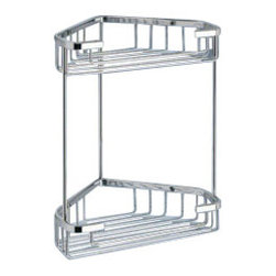 Gedy - Chrome Corner Double Shower Basket - Contemporary style wall mounted corner wire double tier shower basket.