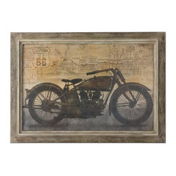 Uttermost - Uttermost 51086  Ride Framed Art - This oil reproduction features a hand applied, sand texture finish. frame has taupe undertones with multiple shades of brown distressing. inner lip has a light taupe undertone with medium brown distressing. a medium gray wash covers both inner and outer frame sections.