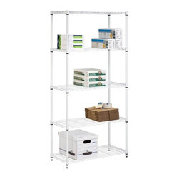 5-Tier White Storage Shelves 200 Lbs - Honey-Can-Do SHF-01573 5-Tier Steel Urban Adjustable Storage Shelving Unit, White. Create visible, accessible storage space instantly with Honey-Can-Do industrial shelving systems. Clean white finish and steel frame make this unit the perfect blend of style and functionality. Durable enough for the home, garage, pantry, or kitchen; this commercial grade shelving is capable of withstanding up to 200lbs per shelf when evenly distributed. Adjustable shelves allow you to change the configuration as your storage needs evolve. Combine multiple units to create a customized storage wall. The no-tool assembly allows you to construct in minutes a shelving unit that will last for years.