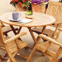 """Cambridge Teak 4 Person Dining Set - This Cambridge Teak Dining Set includes 1 40"""" Round Table and 4 Folding Arm Chairs"""