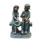 """Alpine Corporation - 16"""" Tall Girl and Boy Sitting on Bench with Puppy Statue - This antique finish sculpture has a timeless charm that captures the innocence of childhood. The intricate detailing of these children is sure to bring a whimsical playfulness to your garden or deck."""