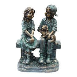 "Alpine Corporation - 16"" Tall Girl and Boy Sitting on Bench with Puppy Statue - This antique finish sculpture has a timeless charm that captures the innocence of childhood. The intricate detailing of these children is sure to bring a whimsical playfulness to your garden or deck."
