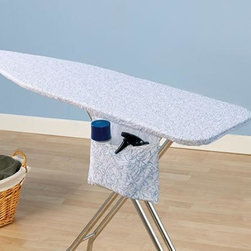 """Home Decorators Collection - Willow Ironing Board Cover and Pad - Our blue and white cotton cover can easily fit your existing ironing board with its bungee cord binding and tailored nose. The hook-and-loop closure straps also ensure that the cover and pad stay in place while you iron. Cover is made of 100% cotton. Includes thick fiber pad. Economically friendly, stain and scorch resistant and repels water and dirt due to its Nanomax™ technology. Five-year guarantee. Fits standard size 53-54""""W x 13-15""""D ironing board tops."""
