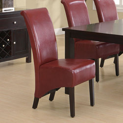 Monarch - Burgundy Leather-Look 40in.H Parson Chair - Set of 2 - Combining contemporary design and classic styling, your Parson chairs will help create a modern and luxurious feel to your dining room. With high profile 40'' high backs, exposed cappuccino finish solid wood legs and a leather look burgundy covered back and seat your Parson chairs will be a focus point of discussion and envy among your friends for years to come.