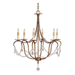 Currey and Company - Crystal Light Chandelier - A lovely wrought iron form is lightly touched with a crystal accent.