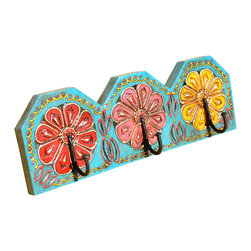 Sierra Living Concepts - Hand Painted Red Blue Yellow Wooden 3 Peg Key Wall Hanging Hook Holder - Now you can keep things neat and organized with style.