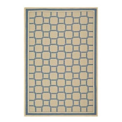 """Martha Stewart Living - Martha Stewart Indoor/Outdoor Area Rug: Resort Weave Cream/Blue 6' 7"""" x 9' 6"""" - Shop for Flooring at The Home Depot. Resort Weave s oversized chain stitch conjures the light and breezy decor found in seaside vacation getaways. Machine-woven in Turkey of 100-percent enhanced polypropylene, this easy-care rug features exceptional UV protection and mildew- and mold-resistance."""