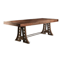 Kathy Kuo Home - Arne Industrial Style Rustic Iron A-Frame Dining Table - An A-framed, cast iron dining table sets the mood for a casual, fun evening with family and friends. Blending industrial style with modern comfort and design, this rustic table has a solid pine top, finished in dark brown. The espresso-colored iron base evokes bridges, train trestles and stylish structural engineering.