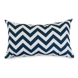 Majestic Home Goods - Navy Chevron Small Pillow - Add a splash of color and a little texture to any environment with these great indoor/outdoor plush pillows by Majestic Home Goods. The Majestic Home Goods chevron pillow will add additional comfort to your living room sofa or your outdoor patio. Whether you are using them as decor throw pillows or simply for support, Majestic Home Goods pillows are the perfect addition to your home. These throw pillows are woven from 7 oz. Cotton, and filled with Super Loft recycled Polyester Fiber Fill for a comfortable but durable look. Spot clean only.