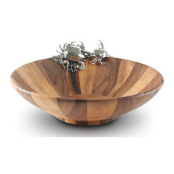 Crab Salad Serving Bowl - Carved from sumptuously striated acacia wood, this Crab Salad Serving Bowl brings natural beauty and marine style to your table. The sides are gently sloped on this wide bowl to showcase the bounty of your salad and allow for ease of service.