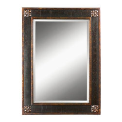 "Uttermost - Uttermost 14156 B Bergamo Vanity Mirror With Distressed Finish Frame - Uttermost 14156 B Bergamo Vanity MirrorFrame features a distressed chestnut brown finish with mottled black undertones, gold leaf details and a light tan glaze. Mirror has a generous 1 1/4"" bevel.Features:"