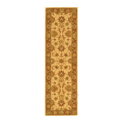 Safavieh - Handmade Heritage Kerman Ivory/ Brown Wool Runner (2'3 x 14') - Traditional rug features a ivory background with a brown border Area rug displays stunning accents of red, ivory, green and beige spread across its beautiful pattern Stylish runner hand-tufted of 100-percent hand-spun wool