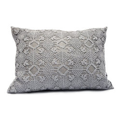 "Area - Violet Pillow in Ash - Area - Pure linen decorative pillows with beautiful hand-crochet detail. 16"" x 21"" with feather-down insert."