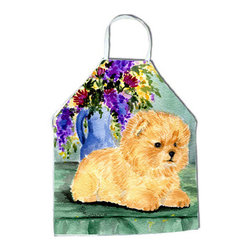 Caroline's Treasures - Pomeranian Apron SS8302APRON - Apron, Bib Style, 27 in H x 31 in W; 100 percent  Ultra Spun Poly, White, braided nylon tie straps, sewn cloth neckband. These bib style aprons are not just for cooking - they are also great for cleaning, gardening, art projects, and other activities, too!