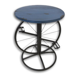 Zeckos - Distressed Blue Metal Bicycle Pedal Accent Table 18.5 In. - This metal table adds a unique accent to your home, featuring a bicycle wheel and pedals and a blue top with a distressed finish. It is great to use as a plant stand in your home or on your porch or patio. The table measures 18.5 inches tall and has a 14 inch diameter top and base. It makes a great housewarming gift that is sure to be admired.