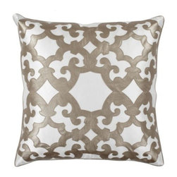 "Z Gallerie - Boulevard Pillow 24"" - Stunning pieces like Z Gallerie's exclusive gold Boulevard Pillow bring texture and sophistication to any space. With striking hues of silver or gold faux leather juxtaposed against an off-white cotton background, the interlacing geometric pattern can be used to effortlessly update your décor."