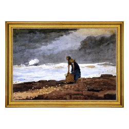 "Winslow Homer-16""x24"" Framed Canvas - 16"" x 24"" Winslow Homer Girl with Red Stockings framed premium canvas print reproduced to meet museum quality standards. Our museum quality canvas prints are produced using high-precision print technology for a more accurate reproduction printed on high quality canvas with fade-resistant, archival inks. Our progressive business model allows us to offer works of art to you at the best wholesale pricing, significantly less than art gallery prices, affordable to all. This artwork is hand stretched onto wooden stretcher bars, then mounted into our 3"" wide gold finish frame with black panel by one of our expert framers. Our framed canvas print comes with hardware, ready to hang on your wall.  We present a comprehensive collection of exceptional canvas art reproductions by Winslow Homer."
