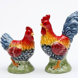 ATD - 2.5 Inch Multicolored Chicken and Rooster Salt and Pepper Set - This gorgeous 2.5 Inch Multicolored Chicken and Rooster Salt and Pepper Set has the finest details and highest quality you will find anywhere! 2.5 Inch Multicolored Chicken and Rooster Salt and Pepper Set is truly remarkable.