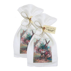 Golden Hill Studio - Bunny with Egg Basket Flour Sack Towel Set of 2 - This lovely Flour Sack Towel set has a lovely antique postcard print to make you smile.  It is proudly printed and assembled in the USA!