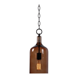 Kenroy Home - Kenroy 91831AMB Capri 1 Light Mini Pendant - Clearly, this classic, versatile glass mini pendant can swing in a modern or traditional scenario.  With the silhouette of a classic jug, and glossy transparency, Capri appeals to a wide spectrum of design sensibilities. Perfect for lining up in multiples over bars, counters, or breakfast nooks.