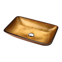Kraus - Kraus Golden Pearl Rectangular Glass Vessel Sink, No Pop-Up Drain, 4.5 X 22 X 14 - This rectangular glass vessel sink is a fusion of elegance and modern