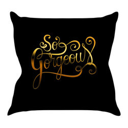"""Kess InHouse - Roberlan """"So Gorgeous"""" Gold Black Throw Pillow (16"""" x 16"""") - Rest among the art you love. Transform your hang out room into a hip gallery, that's also comfortable. With this pillow you can create an environment that reflects your unique style. It's amazing what a throw pillow can do to complete a room. (Kess InHouse is not responsible for pillow fighting that may occur as the result of creative stimulation)."""