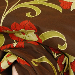 M8814 Clementine Chocolate Red Floral Upholstery Fabric - Clementine from Barrow and Meramec designs Upholstery fabric from Barrow and Meramec. Chocolate brown background with a large floral and scroll pattern. Great upholstery fabric to cover a chair, sofa, headboard or a cornice board. The oversized pattern gives this fabric a contemporary or modern flair. Add a designer look to any room with this bold pattern. Heavy and durable, great quality upholstery fabric that would add pop and color to any room.  Great when paired with geometric designs like checks, stripes or plaids or solid colors that would accentuate the current colors in the Clementine design.